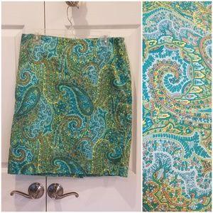 Jones New York Blue Paisley Skirt